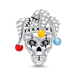 """""""Clown Skull"""" Skull With Clown Hat Sterling Silver Charm"""