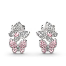 """Jeulia """"Spring is Coming"""" Two Butterfly Sterling Silver Earrings"""