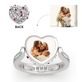 """Jeulia """"Soulmate"""" Sterling Silver Personalized Photo Ring (With A Free Chain)"""