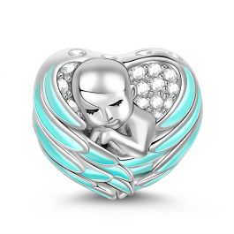 """""""Sleeping Baby Wrapped in Angel Wings"""" Baby Charm Blue Wings Silver for Mothers"""