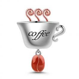 """""""Refresh Yourself"""" Coffee Cup Charm Sterling Silver Best For Necklace or Bracelet"""