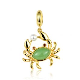 """""""Bring You Wealth"""" Crab Charm  Sterling Silver Pendant"""
