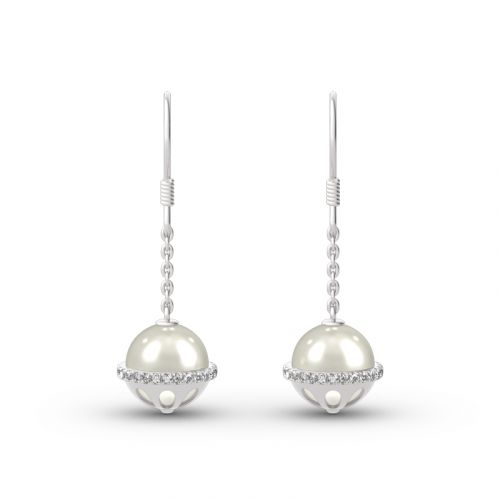 Jeulia Cultured Pearl Sterling Silver Drop Earrings