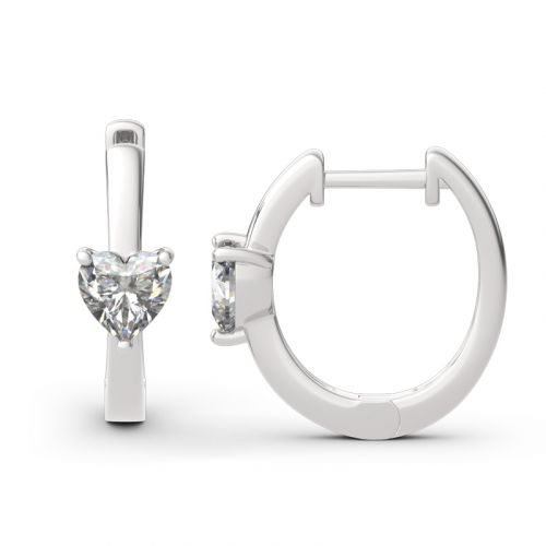 "Jeulia ""Forever Lasting"" Heart Cut Sterling Silver Hoop Earrings"