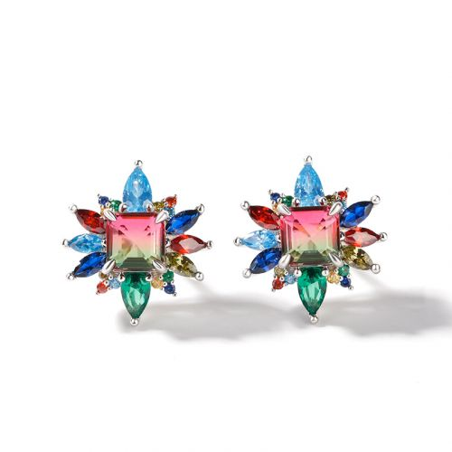 """Jeulia """"Blazing with Colour"""" Emerald Cut Sterling Silver Earrings"""