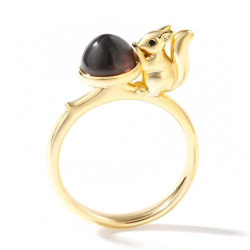 """Jeulia Hug Me """"Lovely Squirrel"""" Round Cut Sterling Silver Ring"""