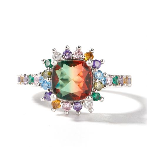 """Jeulia """"Blazing with Color"""" Cushion Cut Sterling Silver Ring"""
