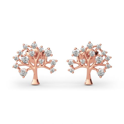 "Jeulia ""Tree of Life"" Round Cut Sterling Silver Earrings"