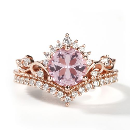 Jeulia Crown Design Round Cut Synthetic Morganite Sterling Silver Ring
