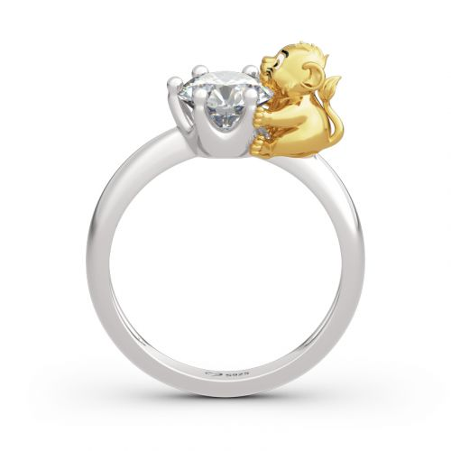 """Jeulia Hug Me """"King of the Jungle"""" Lion Crown Round Cut Sterling Silver Ring"""