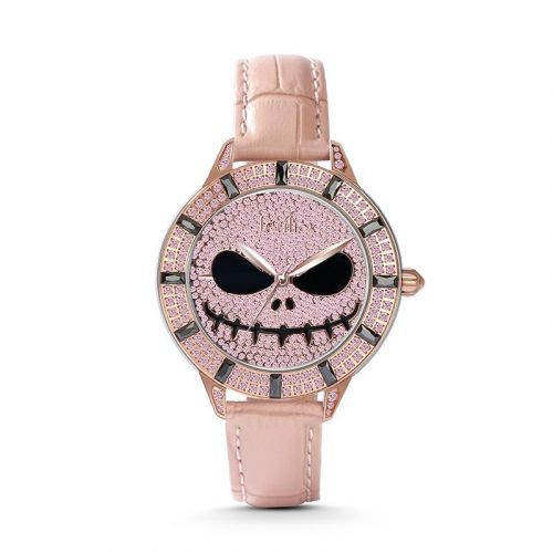 "Jeulia ""Living Skeleton"" Skull Design Quartz Pink Leather Women's Watch"