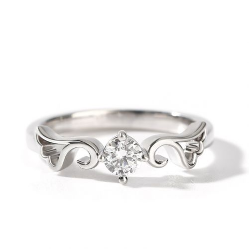 """Jeulia """"Angel Wings"""" Round Cut Sterling Silver Ring"""