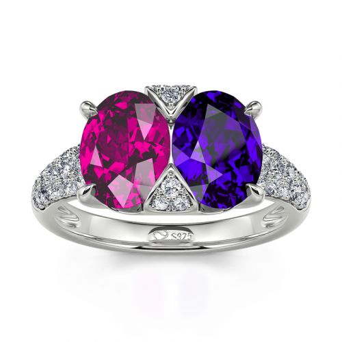"""Jeulia """"Stunning Colors"""" Oval Cut Sterling Silver Ring"""