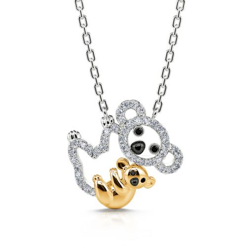 """Jeulia """"Carry Me"""" Mom and Baby Koala Pendant Sterling Silver Necklace"""