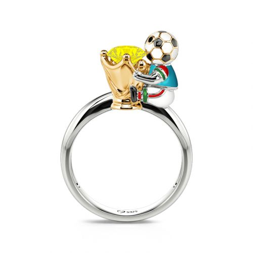 """Jeulia Hug Me """"You're My Champion"""" Italy Football Team Round Cut Sterling Silver Ring"""