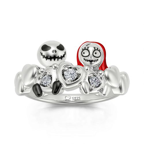 """Jeulia """"Magic of Love"""" Skull Couple Round Cut Sterling Silver Ring"""