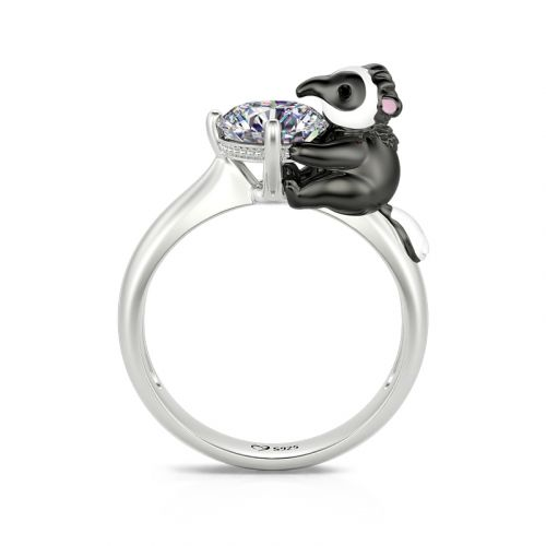 """Jeulia Hug Me """"Tiny Anteater"""" Round Cut Sterling Silver Ring"""