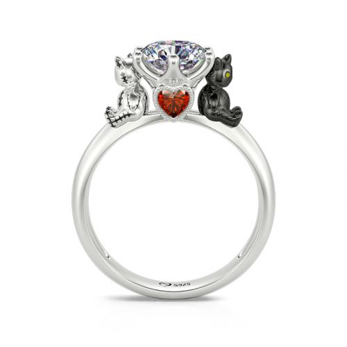"""Jeulia Hug Me """"Voodoo Doll Cats"""" Round Cut Sterling Silver Ring"""