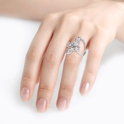 Jeulia Flower and Butterfly Sterling Silver Ring