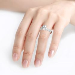 Jeulia Round Cut Flower Petal Sterling Silver Ring