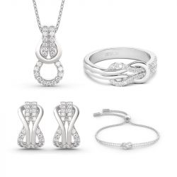 Jeulia Infinity Love Sterling Silver Jewelry Set