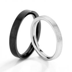 Jeulia Simple Sterling Silver Couple Rings