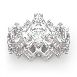 Jeulia Flower Marquise Cut Sterling Silver Ring