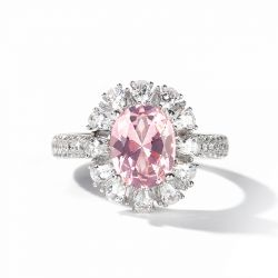 Jeulia Floral Halo Oval Cut Synthetic Morganite Sterling Silver Ring