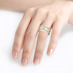 Jeulia Two Tone Marquise Cut Sterling Silver Ring Set