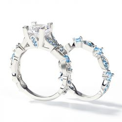 Jeulia Butterfly Round Cut Sterling Silver Ring Set