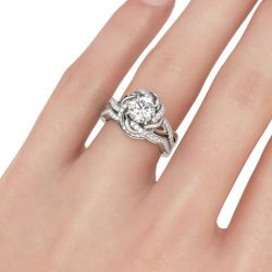 Jeulia Twist Floral Round Cut Sterling Silver Ring Set