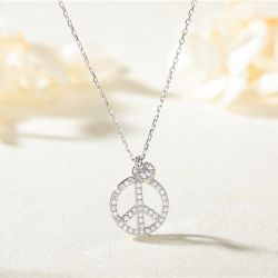 Jeulia Peace Sign Sterling Silver Geometric Necklace