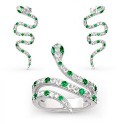 "Jeulia ""Spiritual Rebirth"" Snake Shape Sterling Silver Jewelry Set"