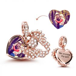"""Heart With Angel Wing"" Engravable Photo Charm Pendant"