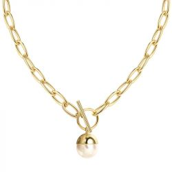 Jeulia Chain Design Cultured Pearl Necklace