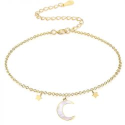 """Jeulia """"Moon and Star"""" Sterling Silver Bracelet"""