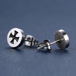 Jeulia Cross Design Titanium Steel Men's Earrings