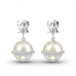 Jeulia Hexagram Cultured Pearl Sterling Silver Earrings