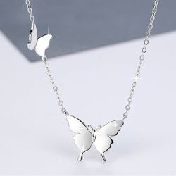 "Jeulia ""Two Butterfly"" Sterling Silver Necklace"