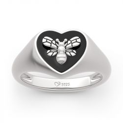 """Jeulia """"Honey Bee"""" Sterling Silver Signet Ring"""
