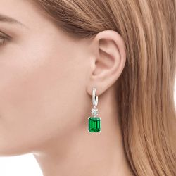 Jeulia Classic Emerald Cut Sterling Silver Earrings
