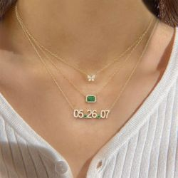 Jeulia Halo Design Emerald Cut Sterling Silver Necklace