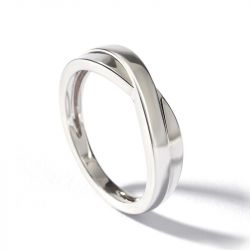 Jeulia Stylish Crossover Sterling Silver Couple Rings