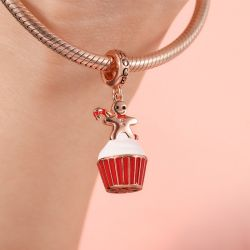 Gingerbread Man Cup Cake Pendant Dangle Charm Sterling Silver 18k Rose Gold Plated