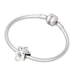 Lovely Star with Pearl Charm Sterling Silver