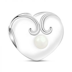 Heart With Pearl Charm Sterling Silver