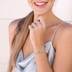 Jeulia Love is in the Air Sterling Silver Bolo Bracelet