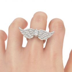 Jeulia  Angel Wings Pear Cut Sterling Silver Ring