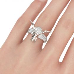 Jeulia Pave Set Round Cut Sterling Silver Elephant Ring
