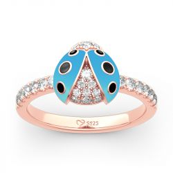 Jeulia Lucky Blue Ladybug Sterling Silver Ring